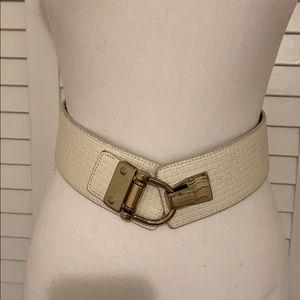 Ladies cream/white  belt S/M with gold trim